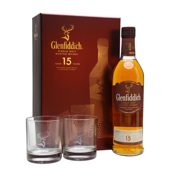Glenfiddich 15 Year & 2 Glasses